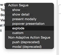 Xcode modal menu showing new segue